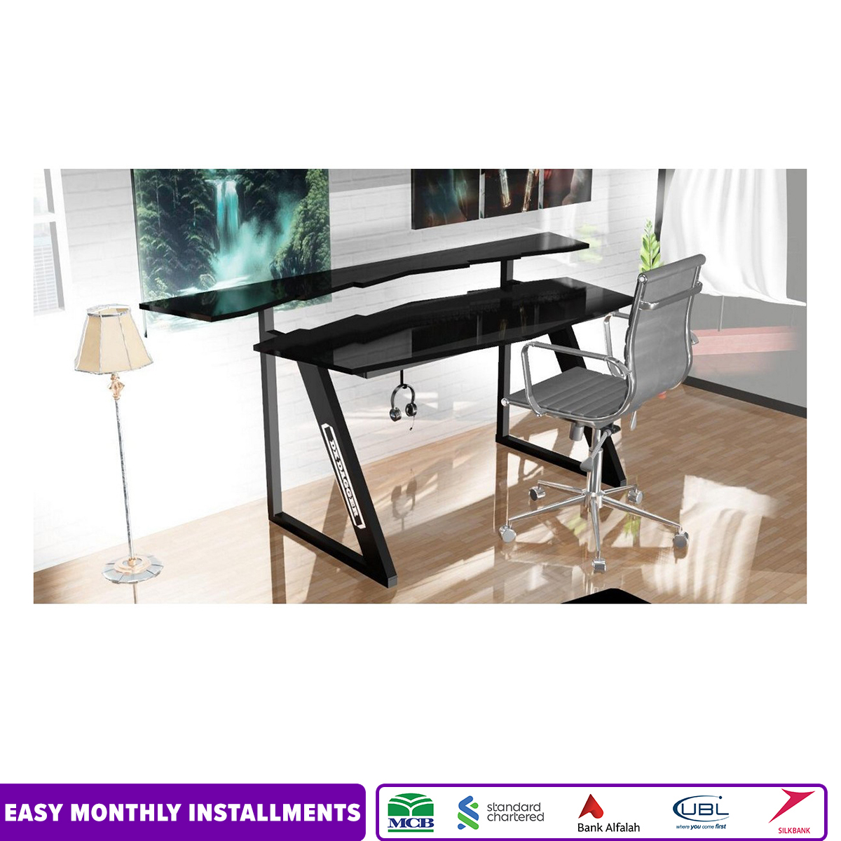 Branded Black Gaming Desk - Studio Table - Computer Laptop Xbox Ps4 Gaming Table - RGB Remote Control Lights - Headphones Holder and Wire Management System - Non Adjustable LED or Monitor Top Stand - Imported High Quality and Sturdy Table