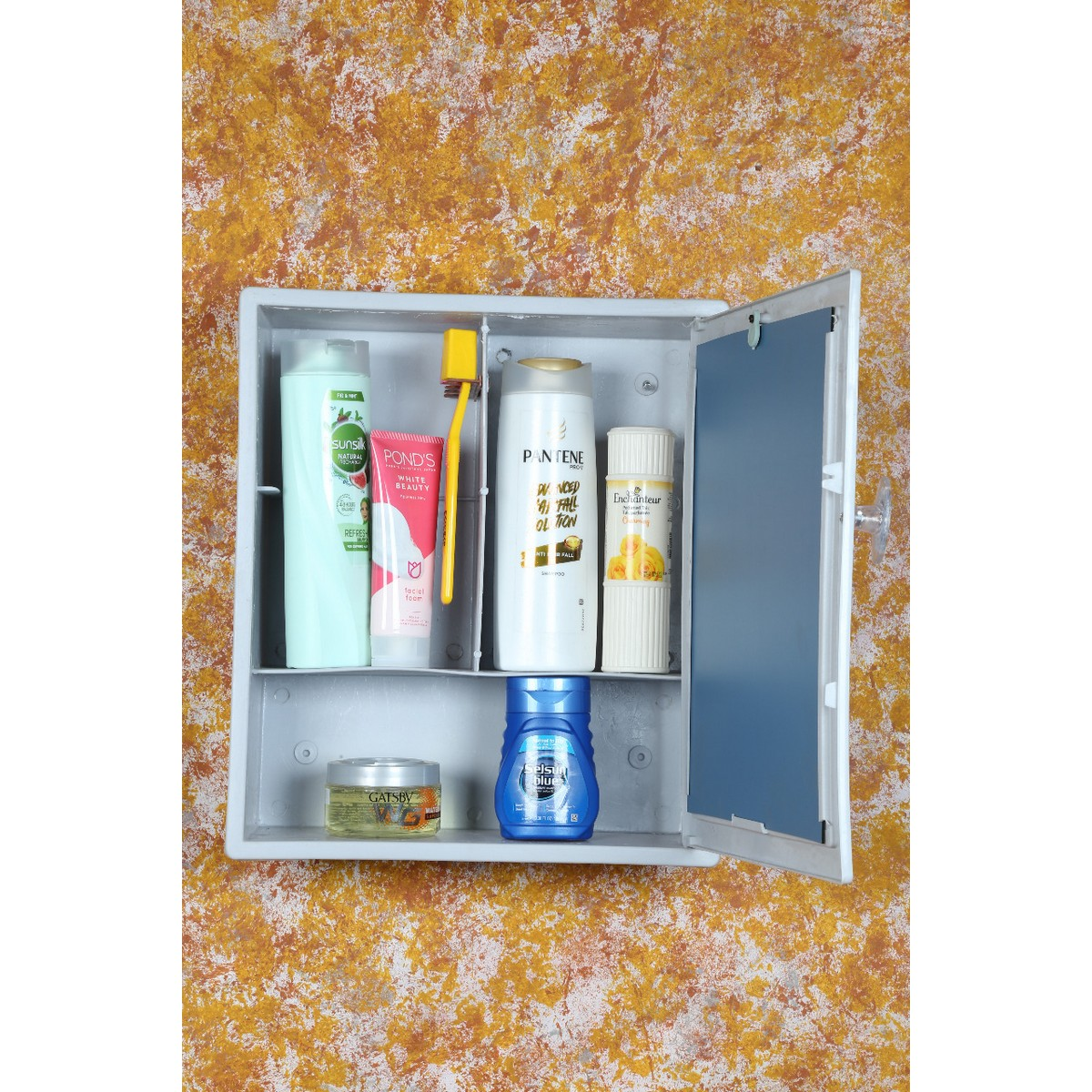 Bathroom Plastic Cabinet with Mirror Multiple Shelves 7 Colors Available