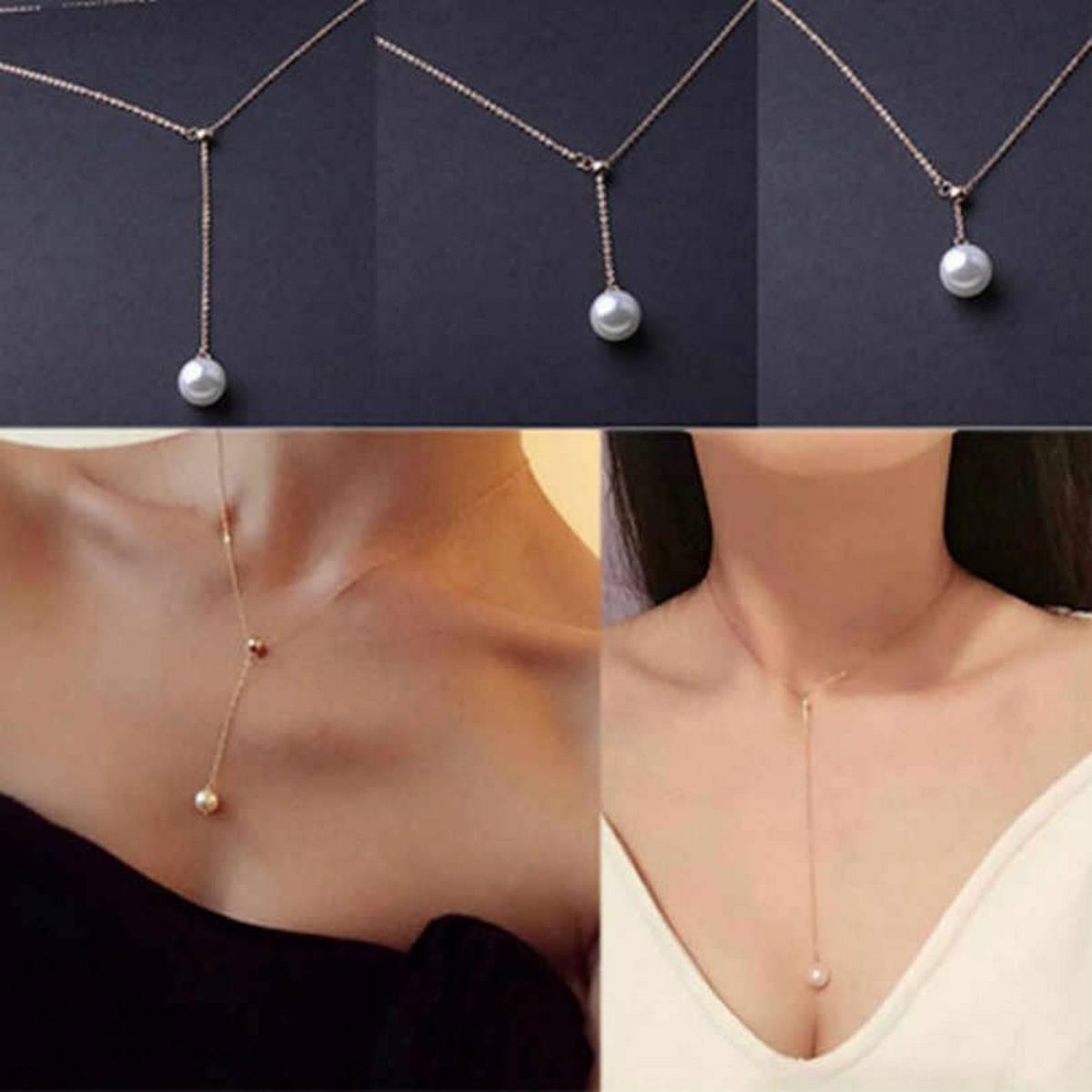 Darojay Womens Necklace Pearl Chain Choker Beaded Silver Pendant Girls Long Gift Jewelry