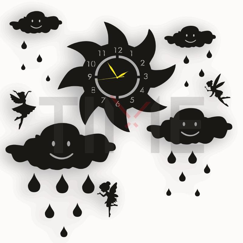 Fairy Wooden Wall Clock with Clouds & Rain Drops & Sun Girls Room 3D Laser Cut Wall Clock (W061)