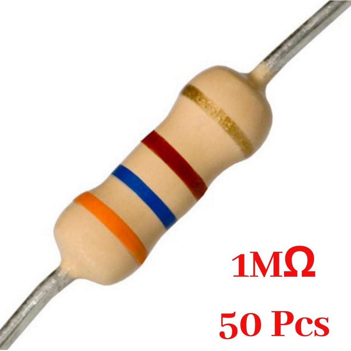 50 Pcs- 1M Ohm resistor 1 mega ohm