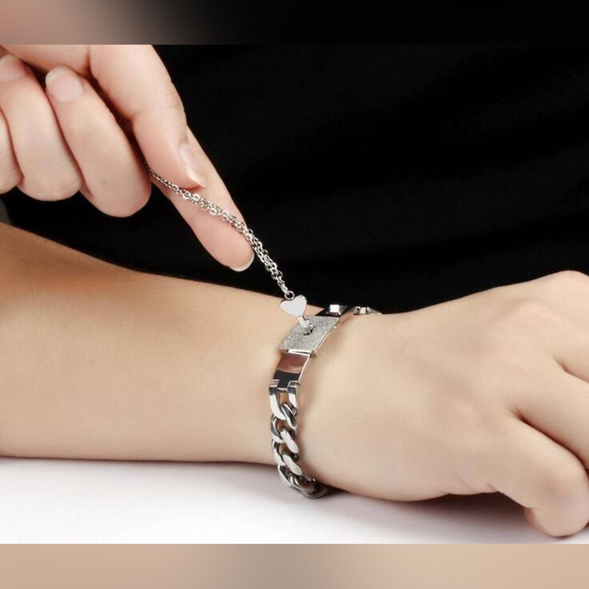 Lover's Key pendant +Stainless Steel Women Men couple Bangle Gift For Lovers Romantic Lock Link Chain Bracelets GTZ001