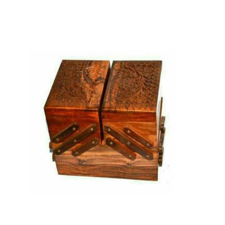 Wooden Large jewellery Box Solid Floral Design Hand Crafted