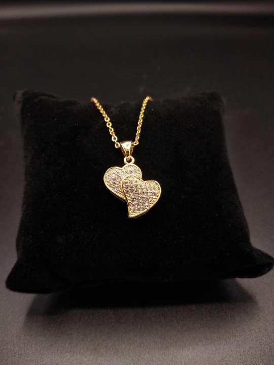 Double Heart Shaped Zircon Locket with Chain