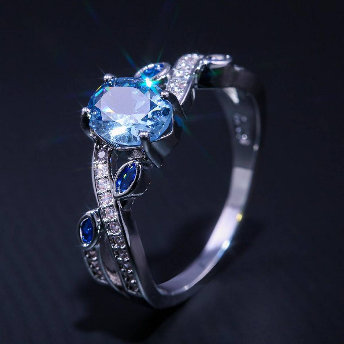 Imported High Quality Engagement Silver Plating Blue Zircon Diamond Rings for Girls Women - HS-B2808