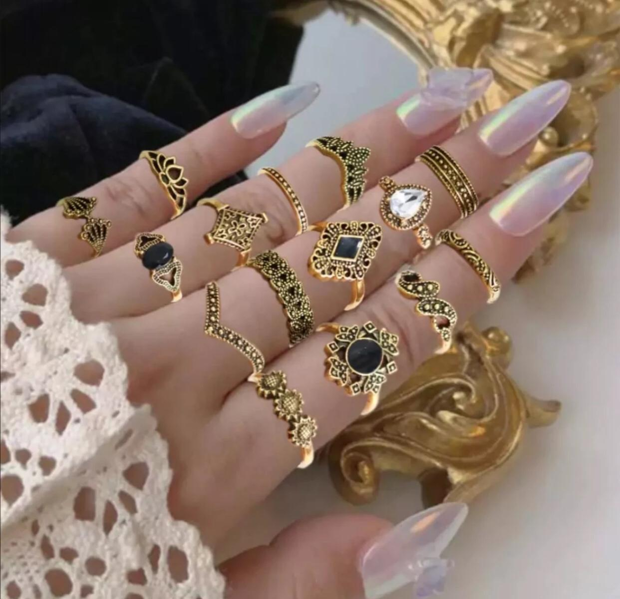 15 Pcs/Set Rings For Girls - High Quality Latest Design 15 Pieces Ring Set For Girls - Ring Set For Women