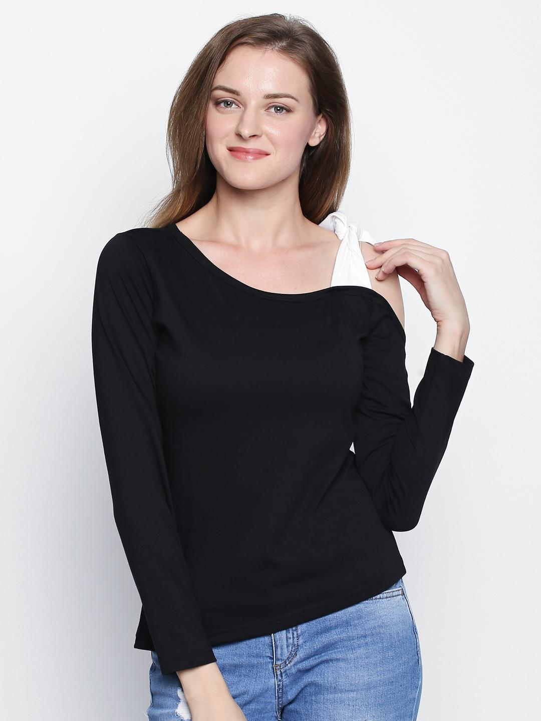 Black Solid Tie One Shoulder Long Sleeve T-shirt For Women. Rid-132