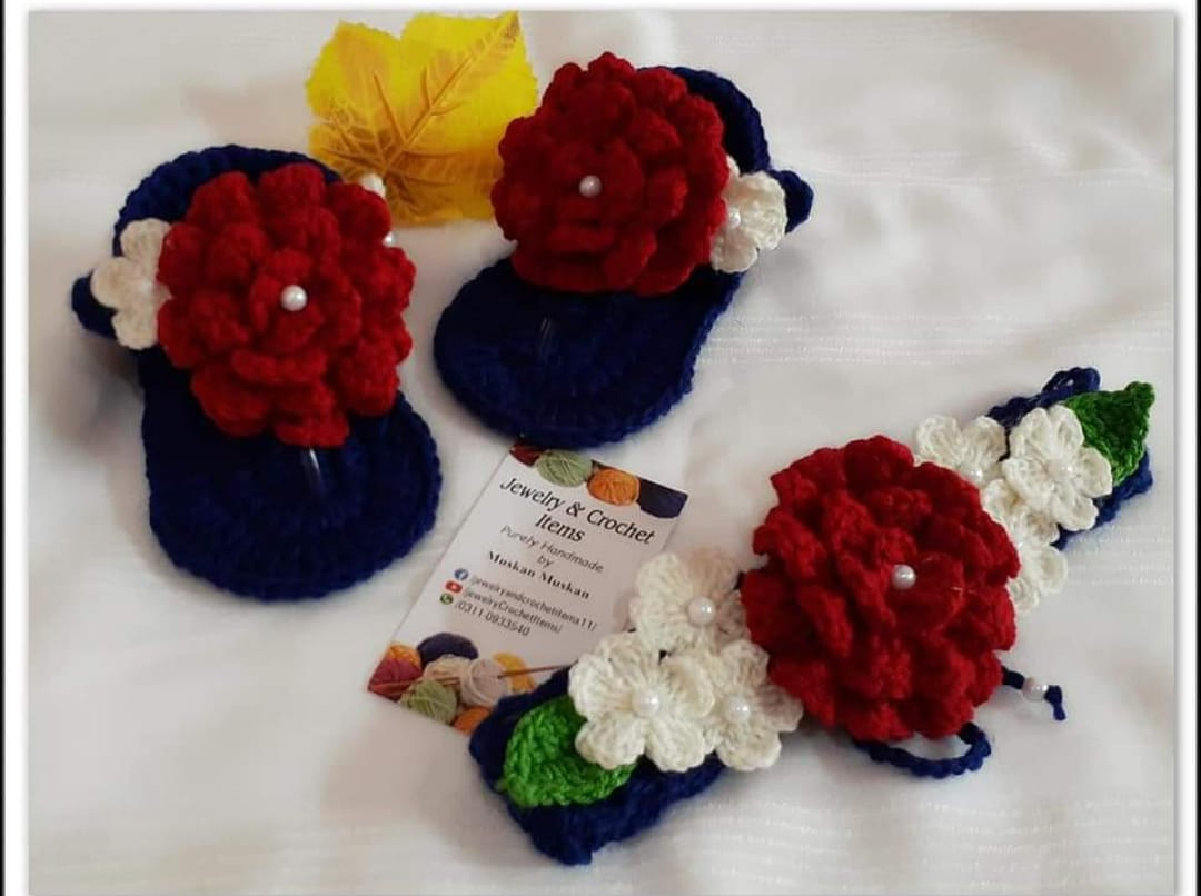CROCHET SHOES AND HEADBAND / BABIES ACCESSORIES/ BABY GIRLS SHOES