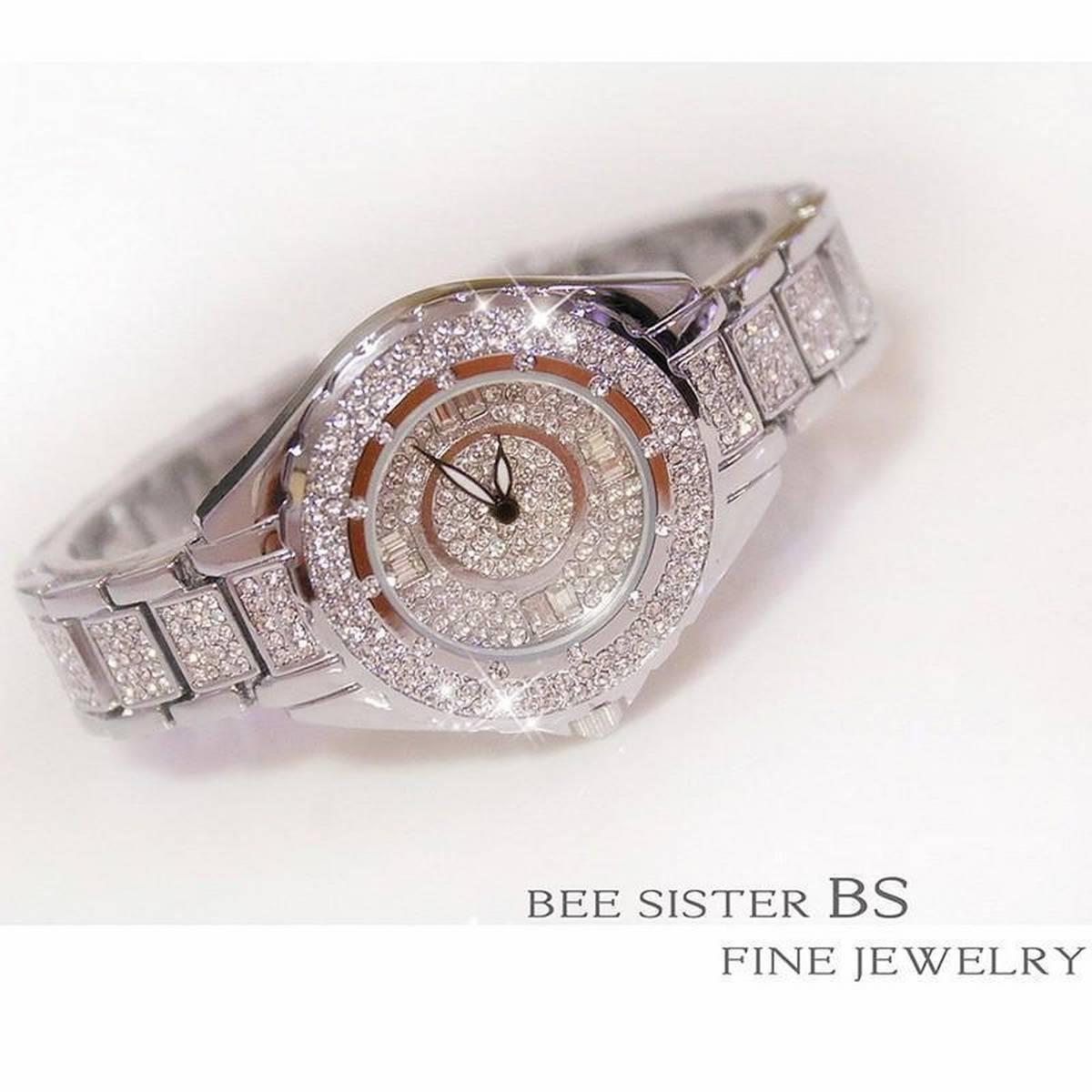BS Beesisiter Girls Fashion Luxury Diamond Watch Quartz Watches Ladies Stainless Steel Wrist watch