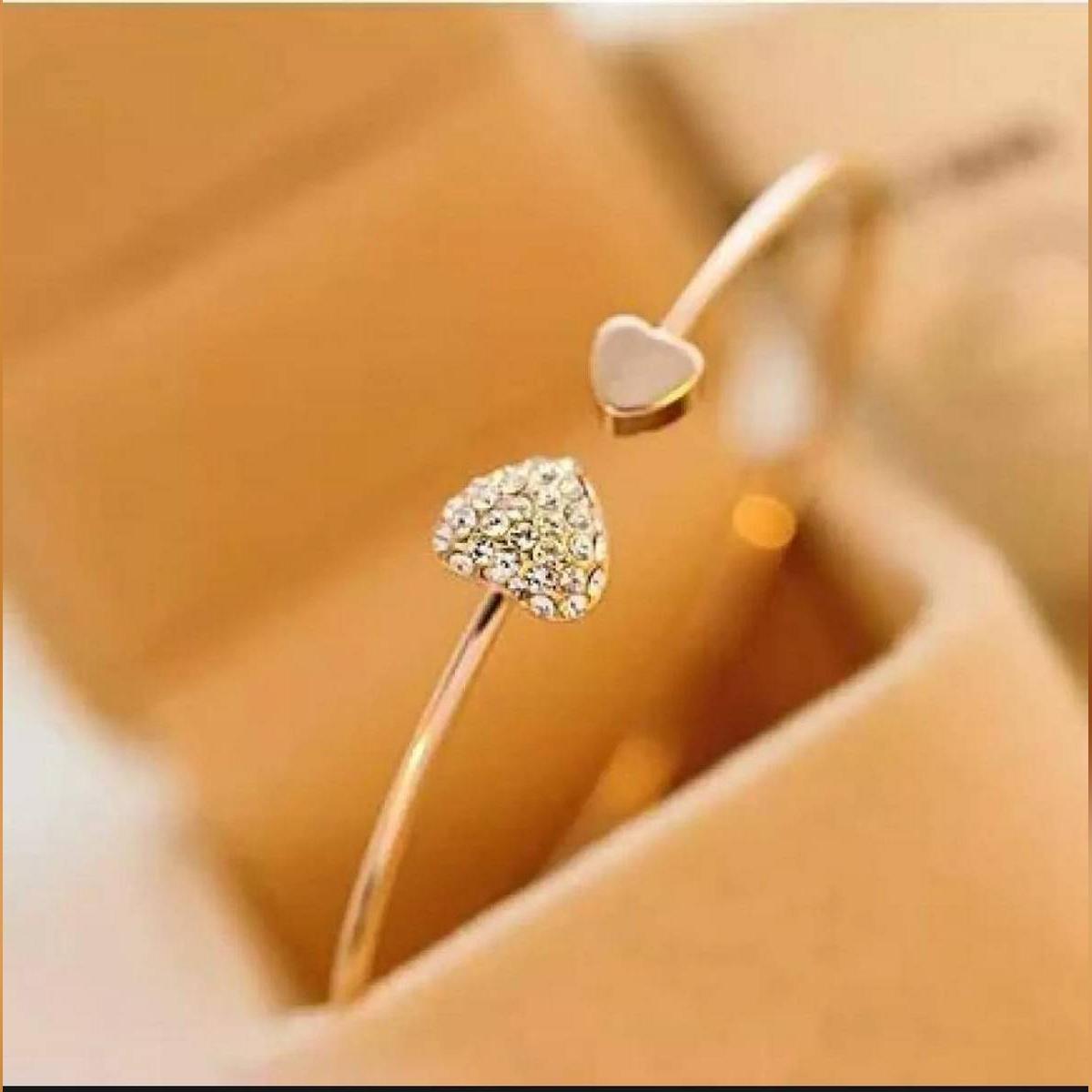 Heart Adjustable Gold Plated Bracelet For Girls