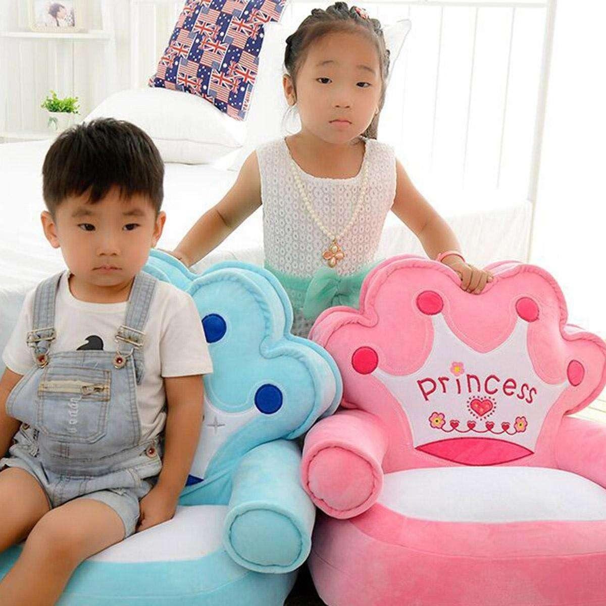 New Cartoon Crown Seat Pillow Sofa Cover with Filling Baby Bean Bag