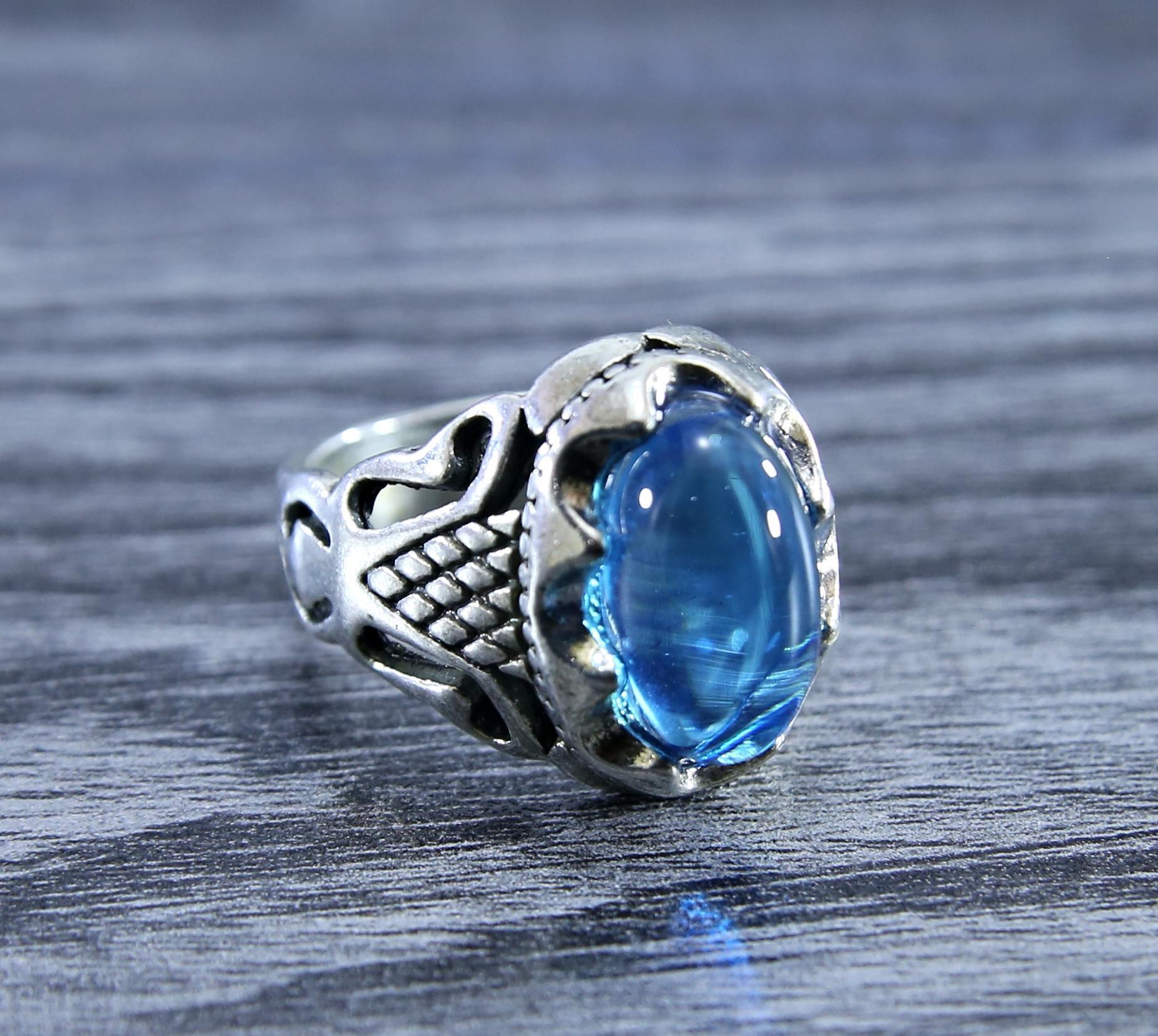 Yemni Oval Aqua Stone Ring For Men