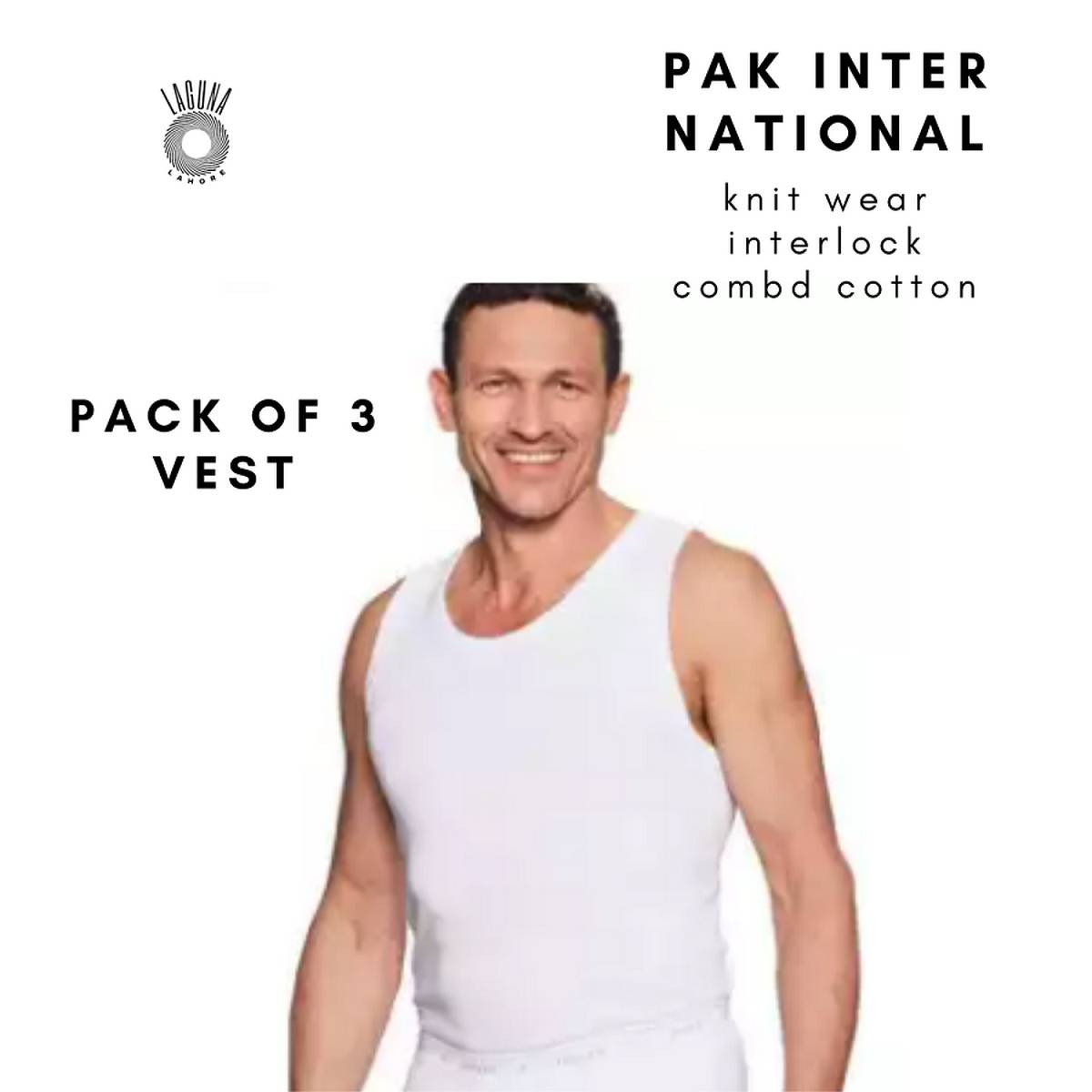 Pack of 3 Size XXL Pak Inter National White Combed Cotton Without Sleeves Vest Bunyan for Men Best For All Seasons' Size XXL