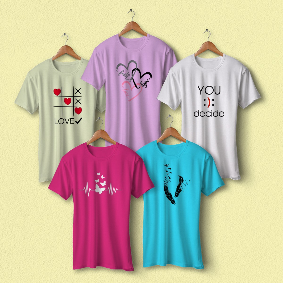 Bundle Of 5 Multicolor tshirts Round Neck Half Sleeves Unisex Casual and Night wear Cotton branded Pack of 5 T-Shirts Printed T Shirts for Ladies Women & Girls