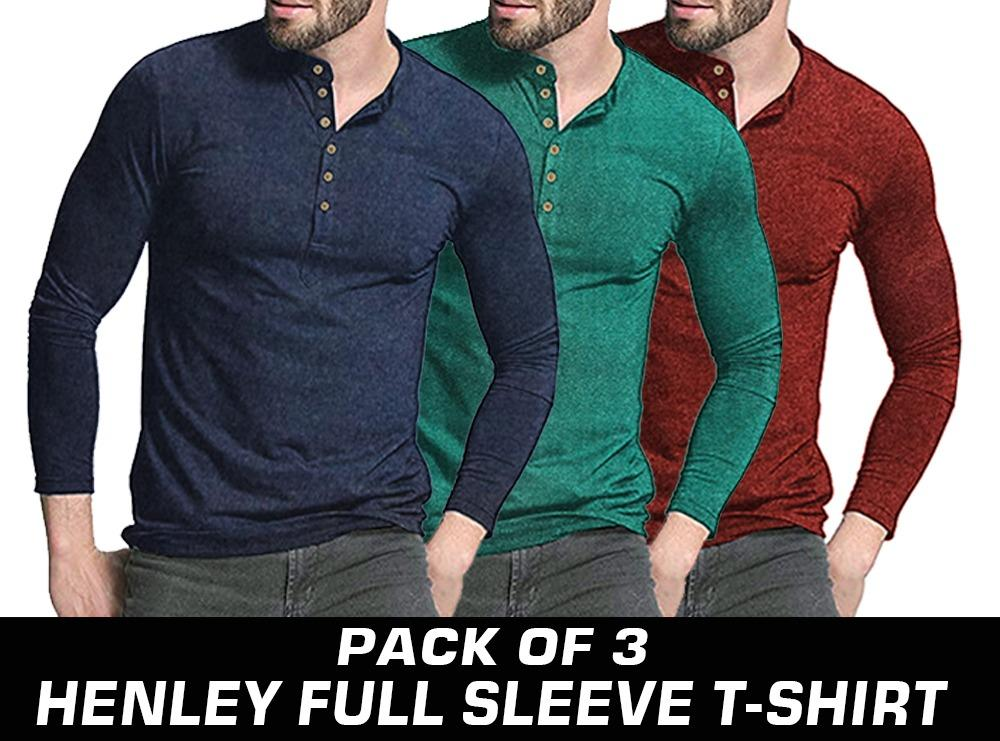 Pack Of 3 Round-Neck Full Sleeves Tee Shirts Cotton T Shirts T-Shirts 43099888eba3