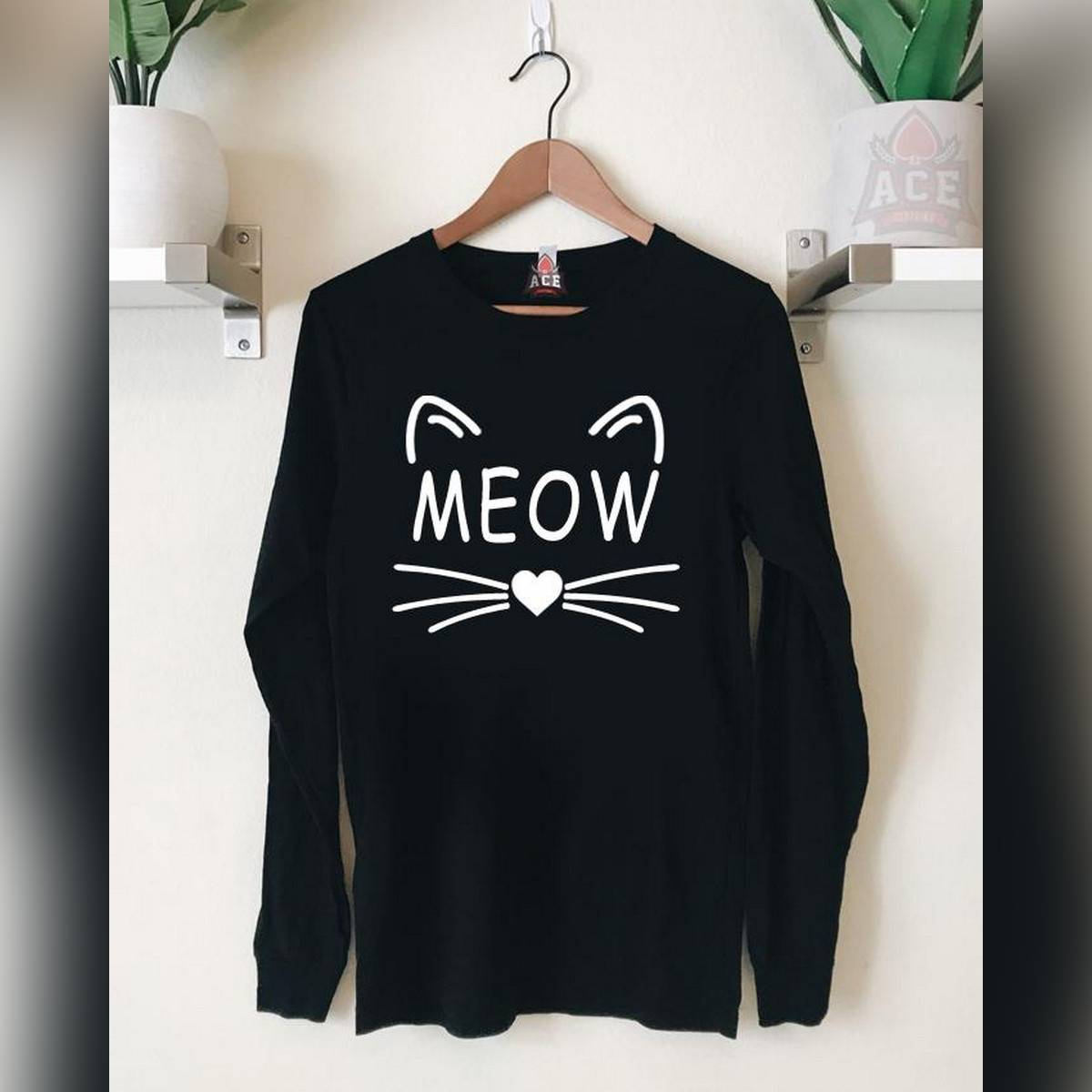 Ace - Black MEOW Full Sleeves Cotton Printed T Shirt for Women