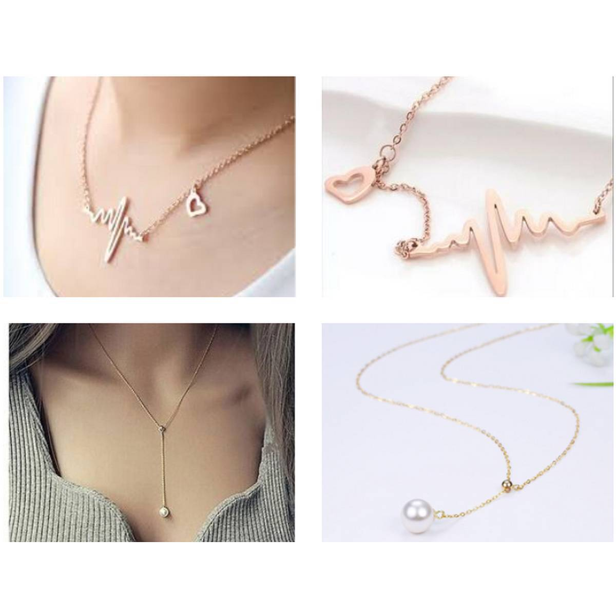 Pack of 2 Super Best Gold Plated Lovely Chain for Girls Heart Beat waves Necklace  and Simple White Pearl Pendent Specially for gift of your loved one