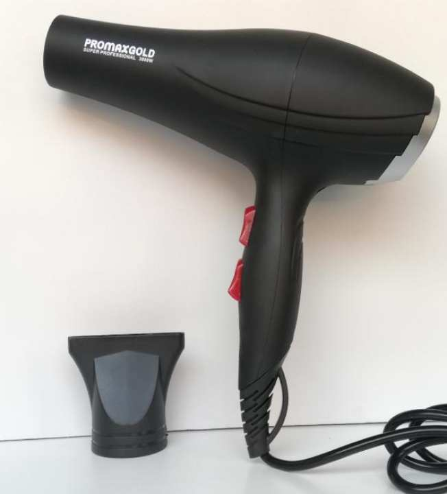 Promax Gold Professional Hair Dryer full size REF-8518 Big hair dryer with 2 heating speeds and 2 blower speeds 3000 watts