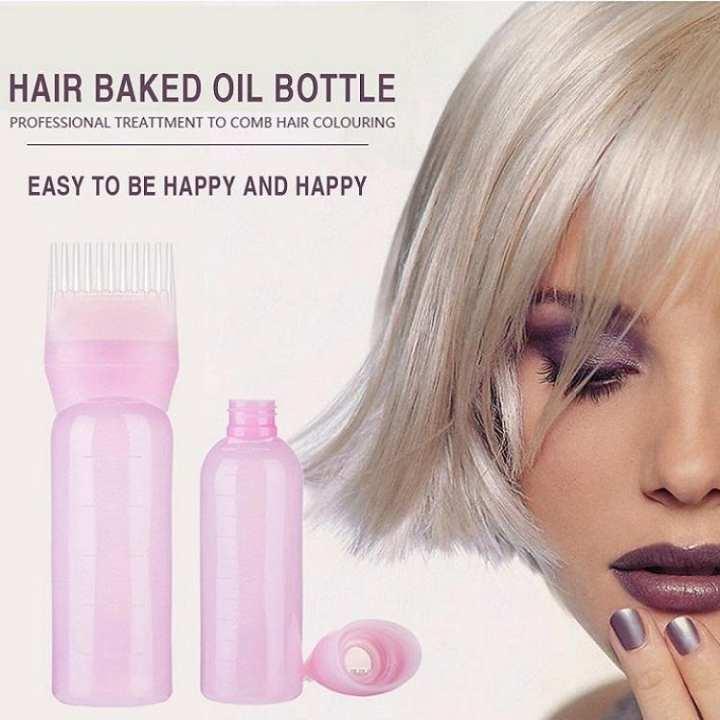 120ml Hair Oil / Dye Bottles Applicator Comb - Pink