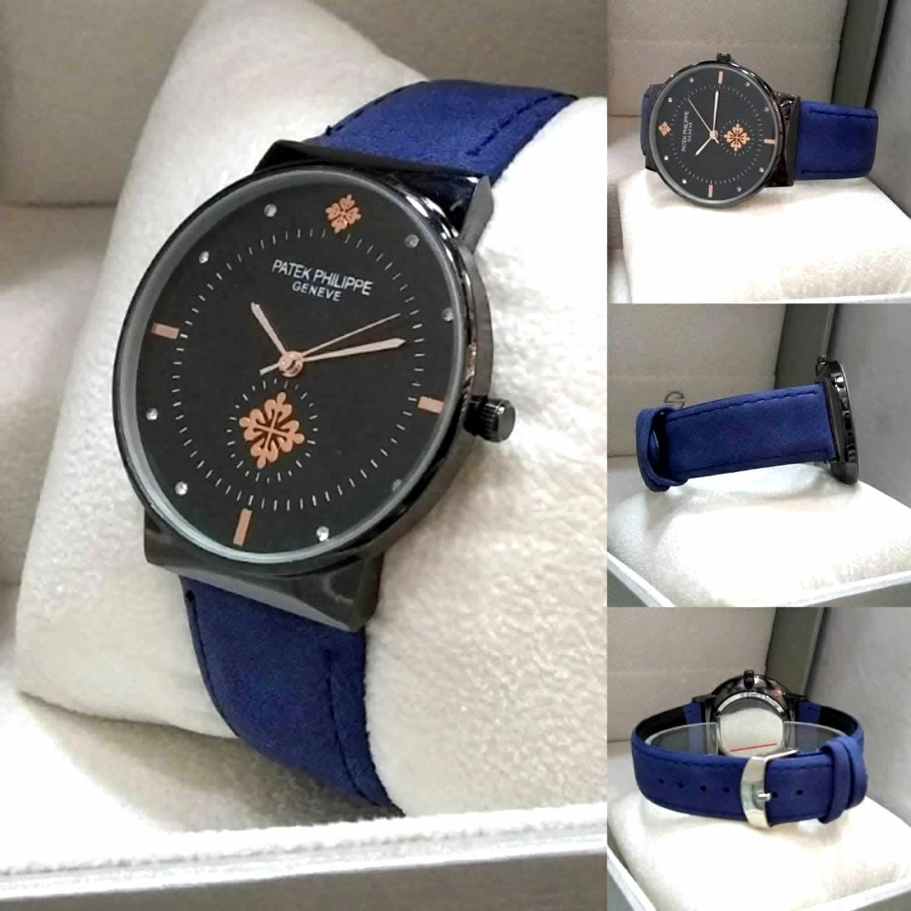 Men Watch & Women Watch, Blue Leather Strap Stylish Watch