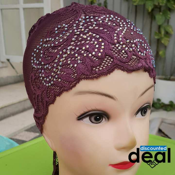 Fancy lace net purple Muslim Headscarf Inner Hijab Caps Wraps Women Islamic Under Scarf Ninja Scarf Ramadan Stretch Cotton Bonnet Caps