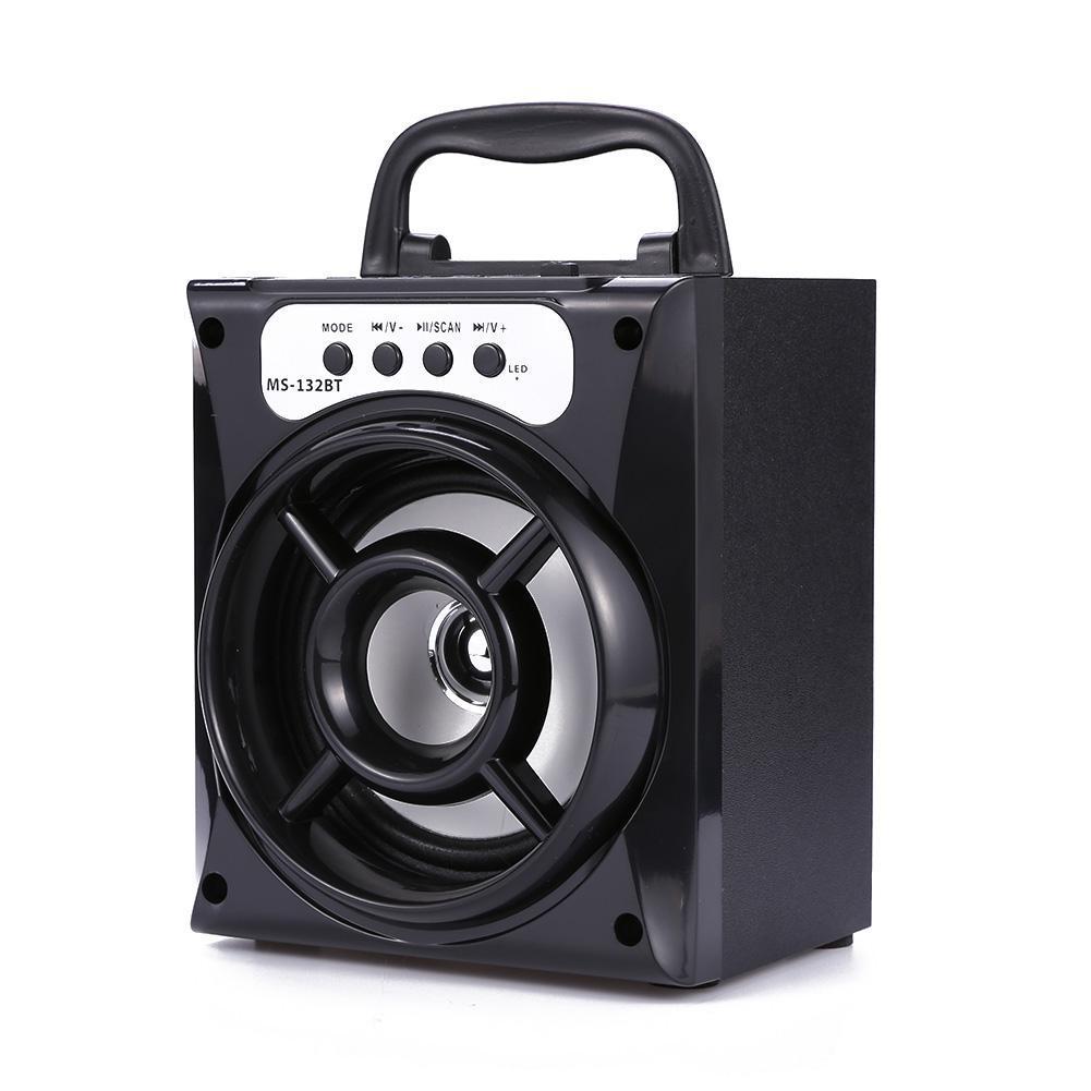 MS-132BT Wireless Bluetooth Speaker Stereo Bass Support USB AUX LED TF FM Radio