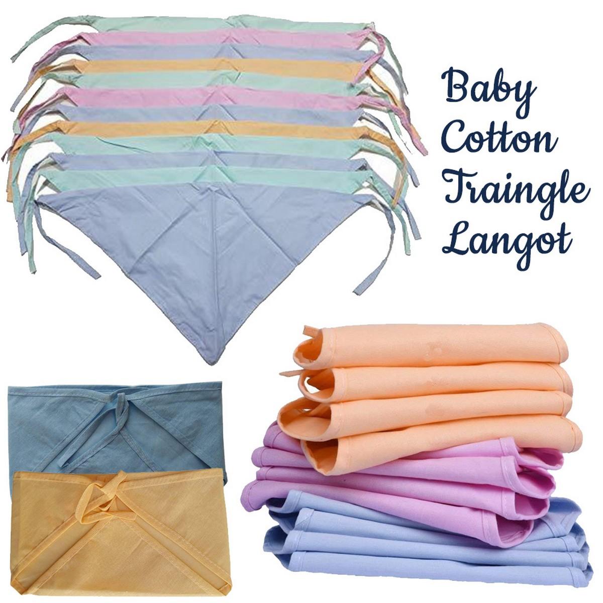 Baby Langot Cotton Triangle Shape Nappy for New Born Baby Pack of 6 Pcs 12 Pcs 18 Pcs 24 Pcs- Cotton Cloth Diapers/Langot for Babies 0-6 Months Double Layer Nappies Washable and Reusable Langoties (Triangle Shape)