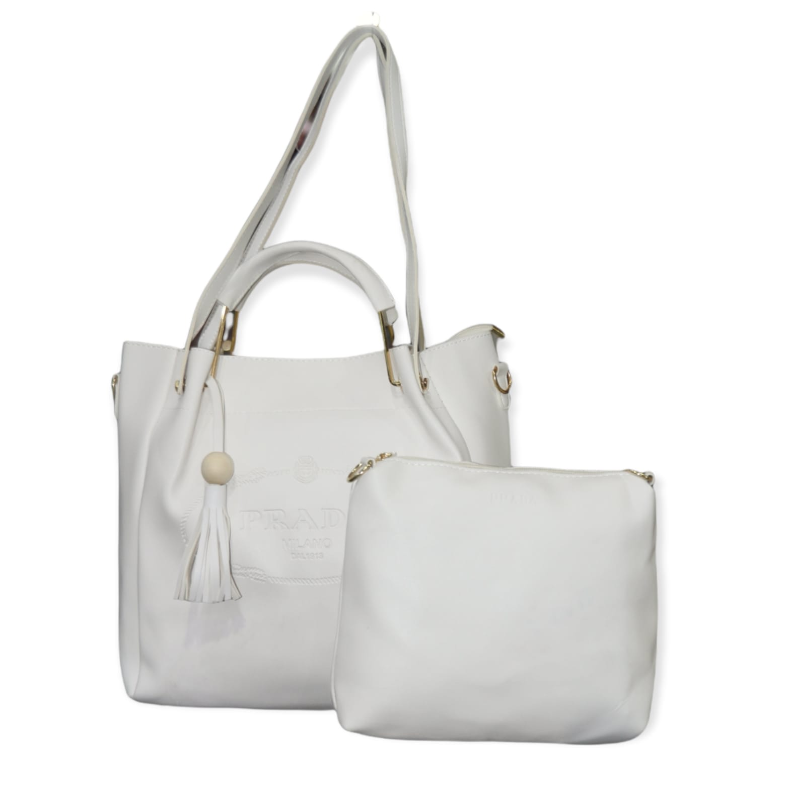 2 in 1 white Handbags for Girls, Women, Ladies, Tote Bag, Purse and Shoulder Bag