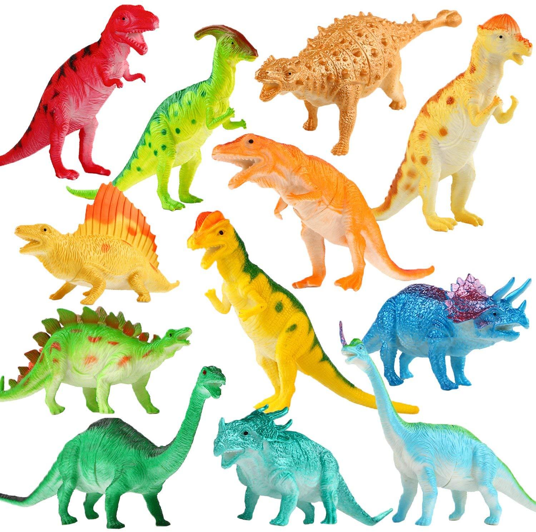 Toys Dinosaur Figure, 5 & 6 Inch Dinosaur Toy Playset(10 Pack), Safe Material Assorted Realistic Dinosaur, Vinyl Plastic Dino Dinosaur Set Party Favors Toys for Kids Boys Toddler Educational
