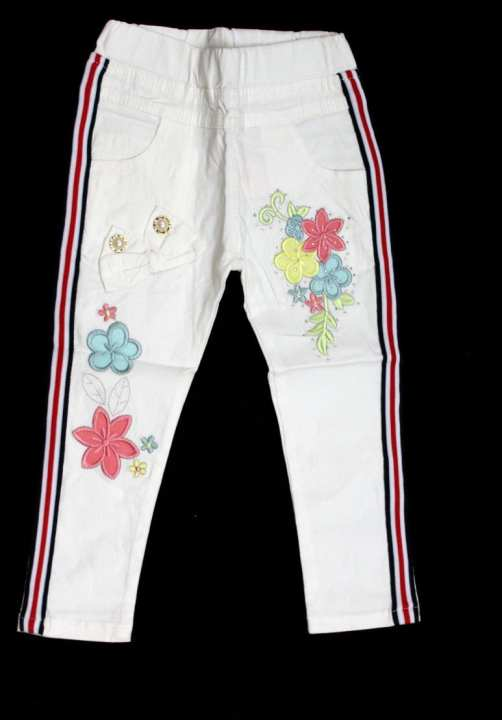 Baby Pant White with Flowers