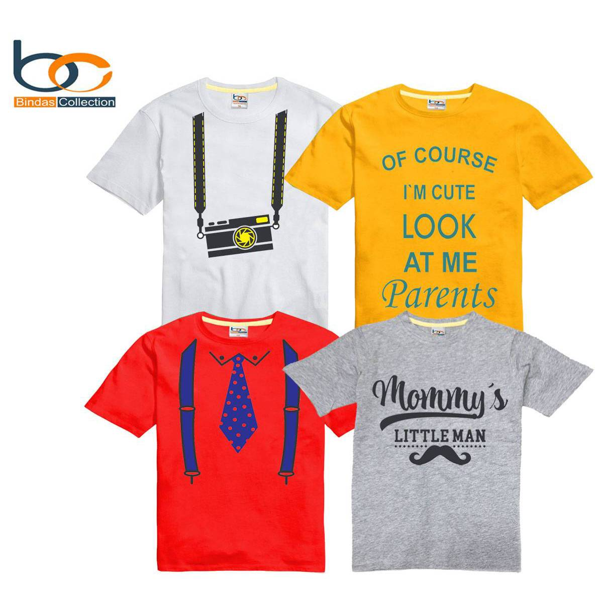 Bindas Collection Pack Of 4 Smart Printed Tshirt For Kids