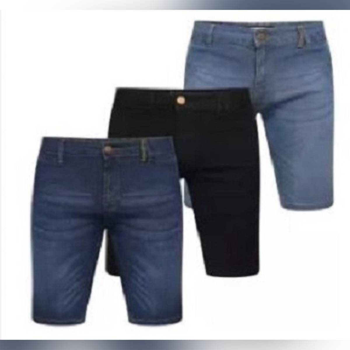 pack of 3 Men's Denim Shorts Fashion Casual Slim Fit Elastic Jeans Shorts Male