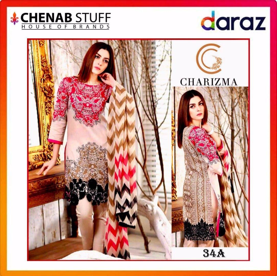 44fd6ad64a Charizma Cr-34A1 Unstitched Lawn Eid Collection 3Pc Embroidered Collection  Unstitched Fabric Pakistani Traditional Clothing