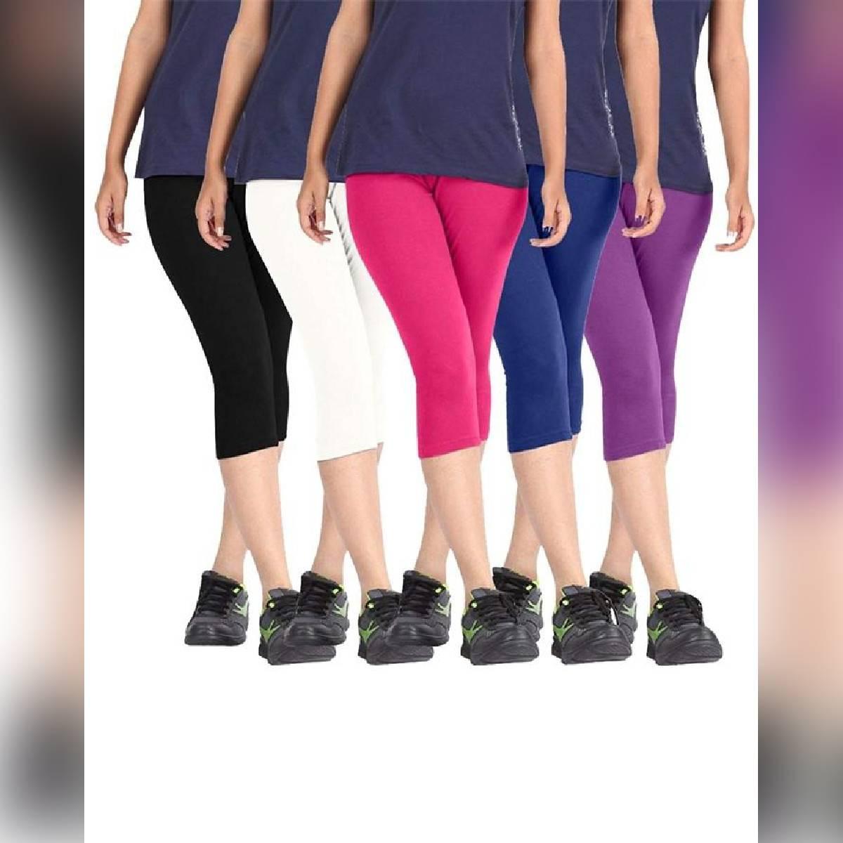 Pack of 5 Multicolor Capri Leggigns For Women