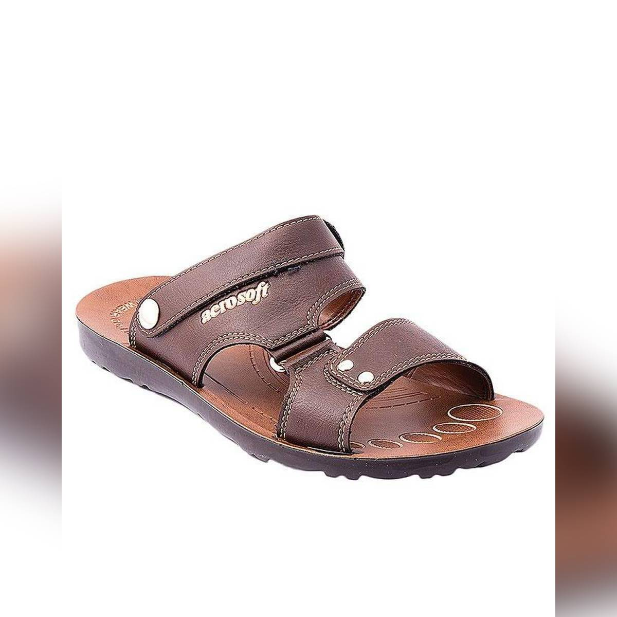 Aerosoft Soft Brown Synthetic Leather Sandals For Men P0111