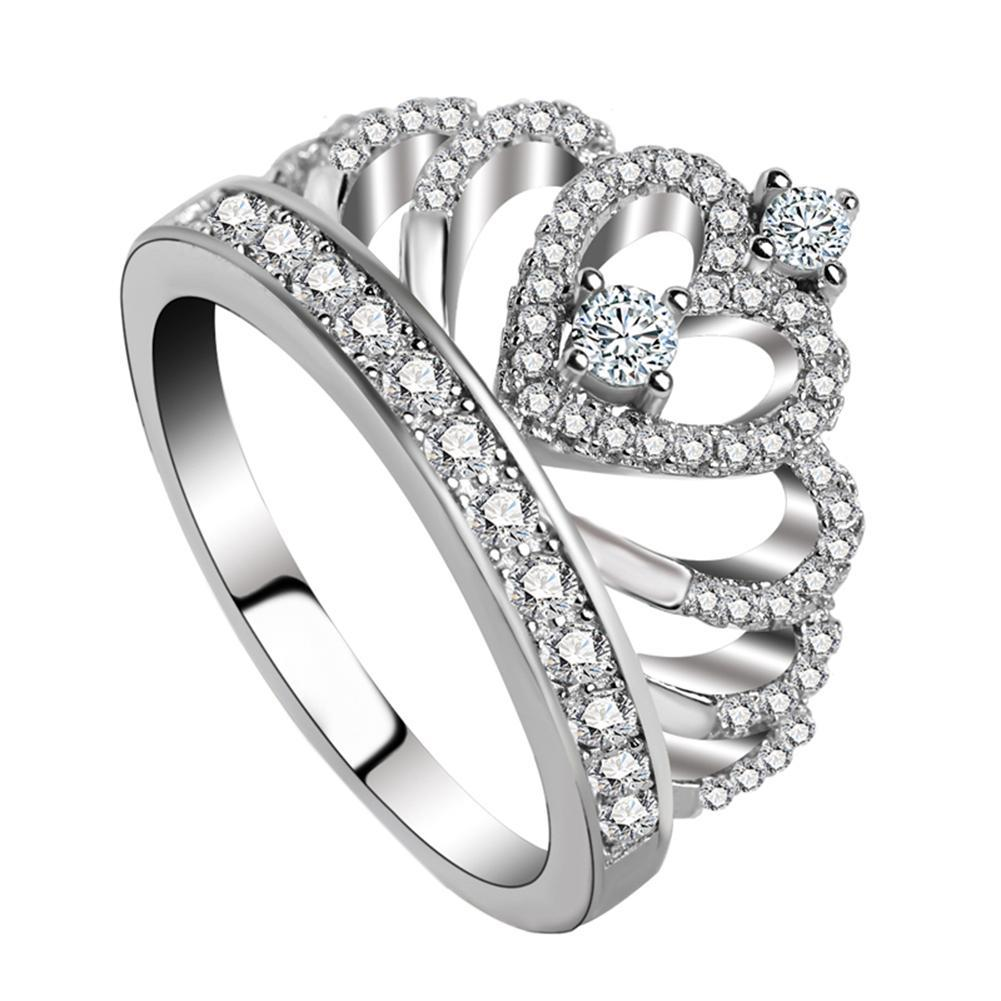 Rhinestone Crown Pattern Ring Copper Silver Plating Ring Jewelry for Women