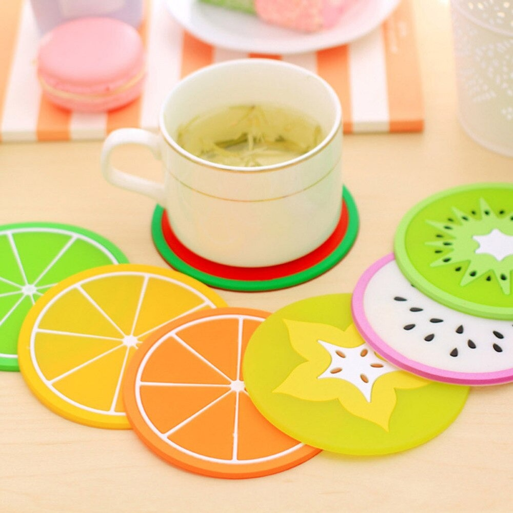 New Colorful silicon Fruit Coaster Tea Cup mat Drink Holder Tea placemats Slice Silicone Drink Cup Mat for Drinks Prevent Furniture and Tabletop