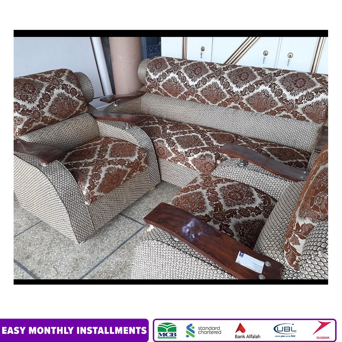 Luxury Elegant Sofa Set - Printed J-Card Fabric Seats - Curved Wooden Arm Rests | 5 Seated Sofa Set |
