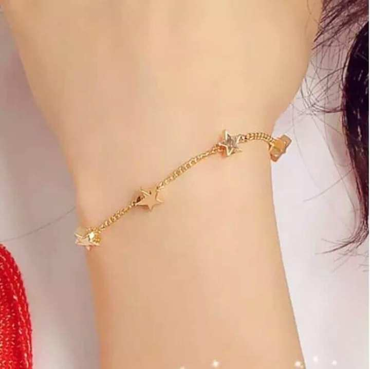 Women Bracelet Star Bracelet Ladies Bracelet Charm Bracelet Beautiful  Bracelet Stylish Bracelet - Golden