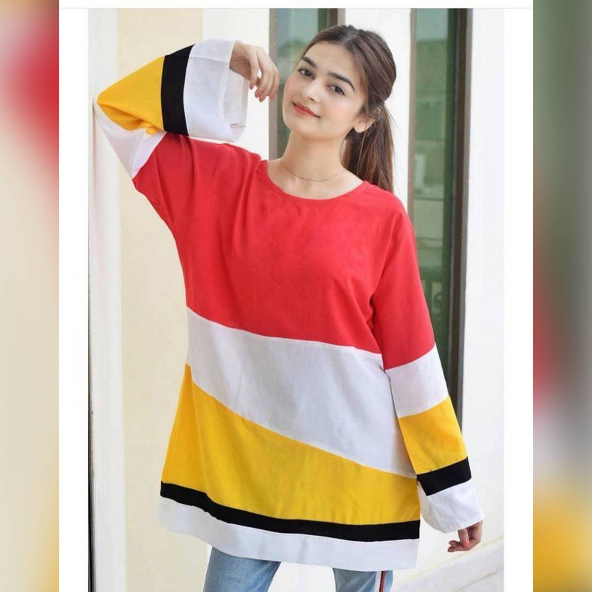 Meeza Fashion Store Summer Collection Fashionable Multi Panel Top For Women