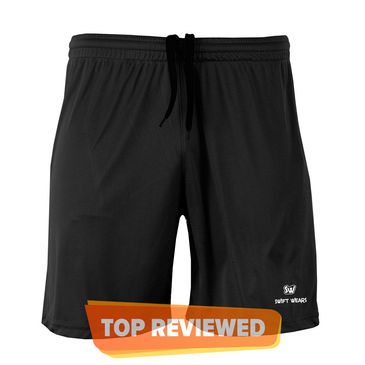 Men Performance Running Sports Shorts Gym Fitness Football Black