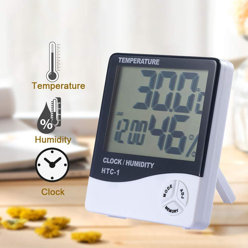 3 In 1 Digital LCD Temperature Humidity Meter - Indoor/Outdoor Room Thermometer Clock Hygrometer With Alarm Clock (IMPORTED) HTC 1