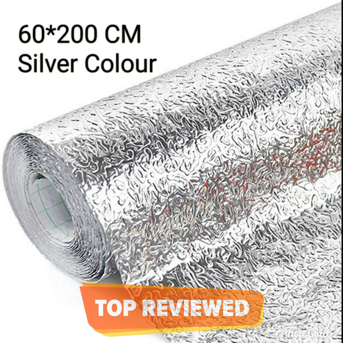 60x200cm Self Adhesive Aluminium Foil Sticker Roll, Oil Proof Waterproof Aluminium Sheet DIY Wallpaper, Backsplash Aluminium Sticker for Home, Kitchen, Stove, Cabinet, Wall, Drawers, Furniture, Silver Colour