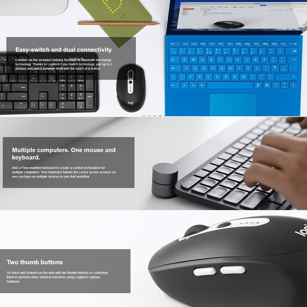 VAKIND Logitech M590 Mute Wireless Bluetooth Mouse Optical Computer Mice  (Black)