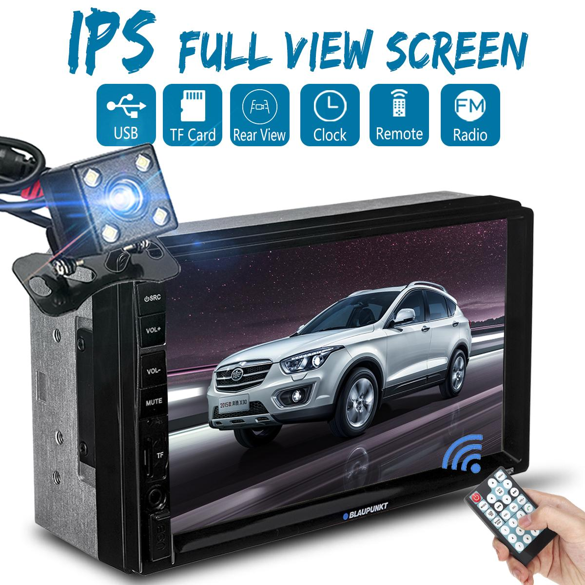 7'' IPS Touch Screen Car Radio FM AUX MP5 Player bluetooth Stereo 1080P+  Camera