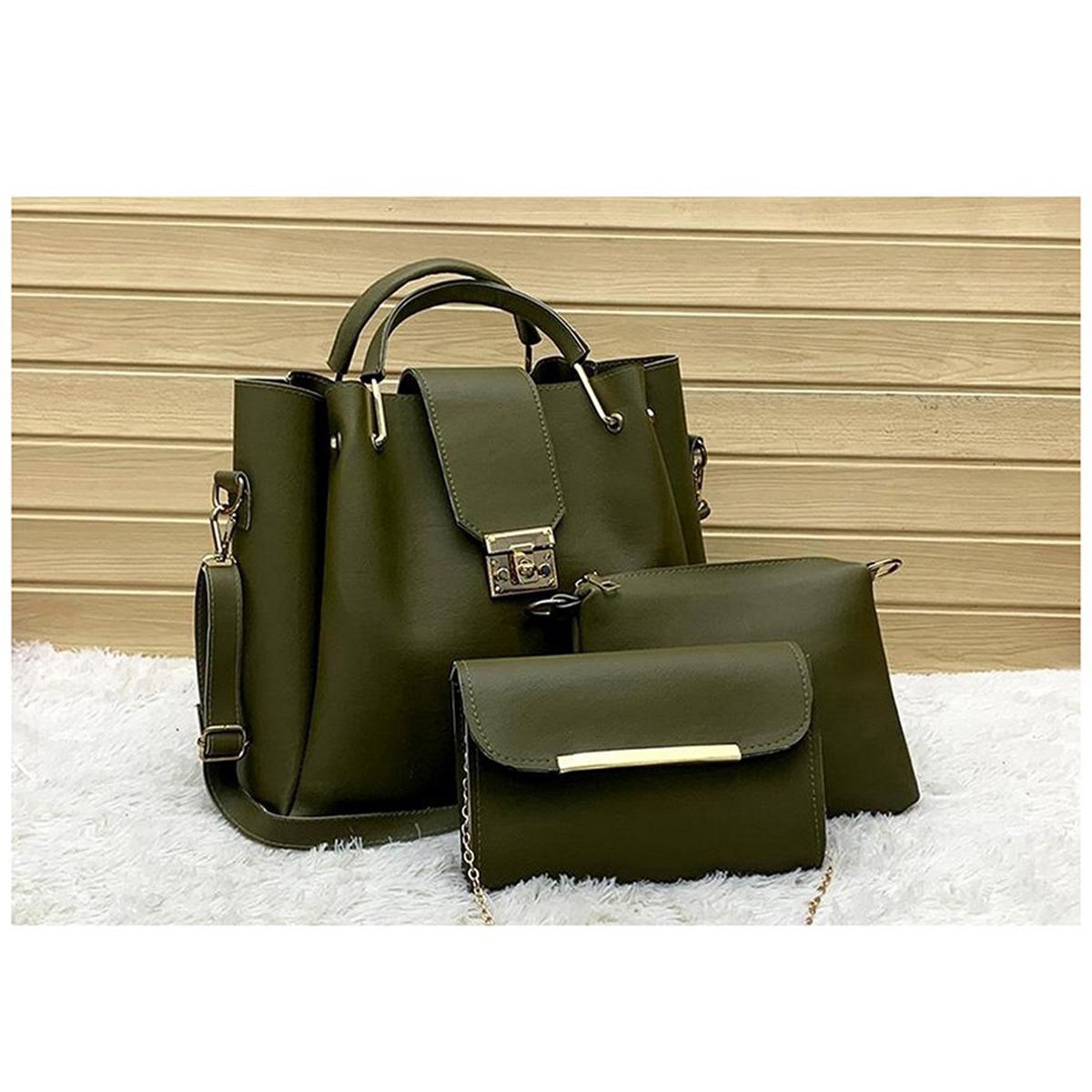 Latest 3 PCS Dual Phase PU Leather Hand Bag Set