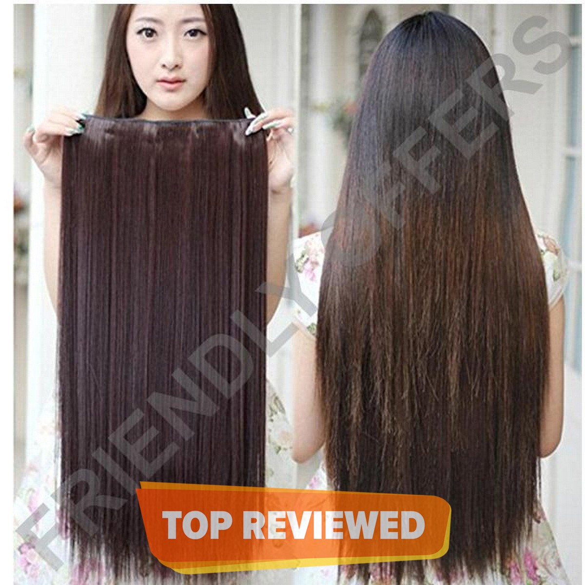 Extra Thick Clip In Heat Resistant Fibre  Brown Color With Natural Look