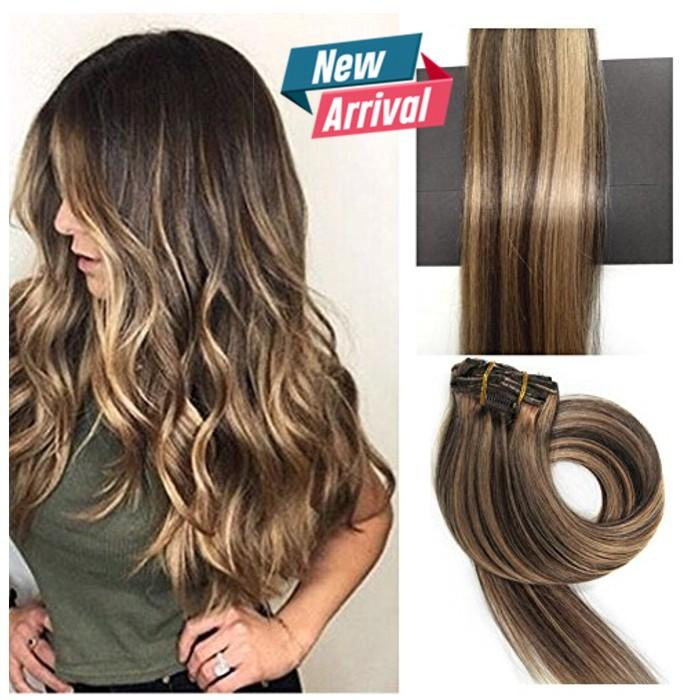 Girl & Women Very Long New Fashion 30 Inch Long Hair Extensions 5 Clip in Matte Ombre Double Shade Hair Extension Girls Fashion
