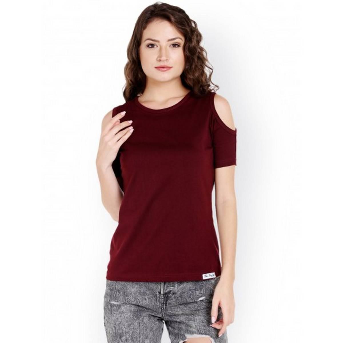 Half Sleeves Cold Shoulder t shirt for girls (Maroon)