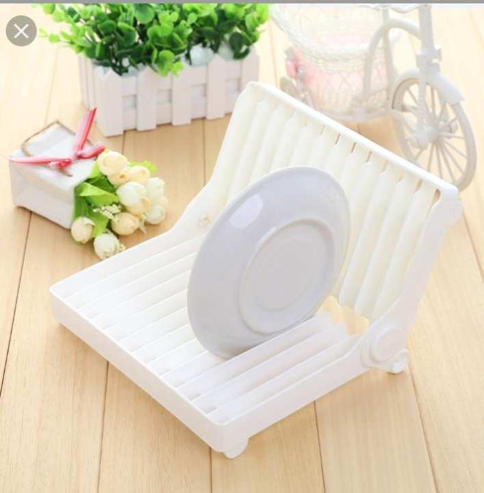 FOLDABLE PLASTIC PLATE DISH DRYING DRAINER RACK ORGANIZER KITCHEN STORAGE HOLDER